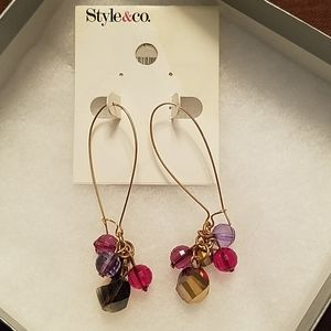 Gold, pink and purple bead drop earrings
